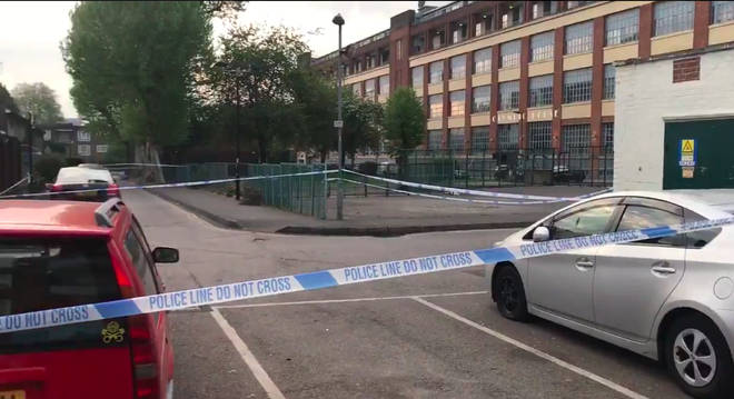 A large cordon is in place on the Somerford Grove Estate following a fatal stabbing.