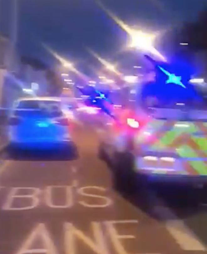 Armed Police rushed to the scene.