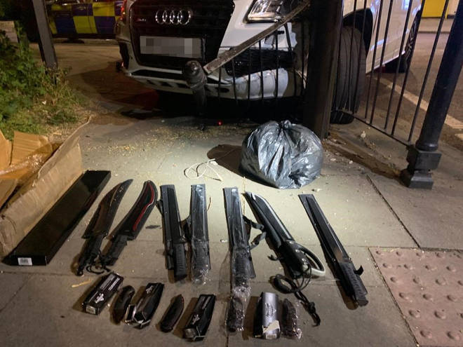 Swords, knives and drugs were seized on the streets of London.