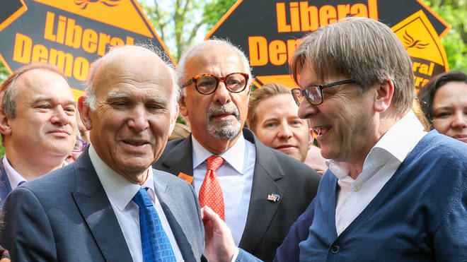 Guy Verhofstadt, the EU Parliaments representative on Brexit with the Lib Dem leader Vince Cable