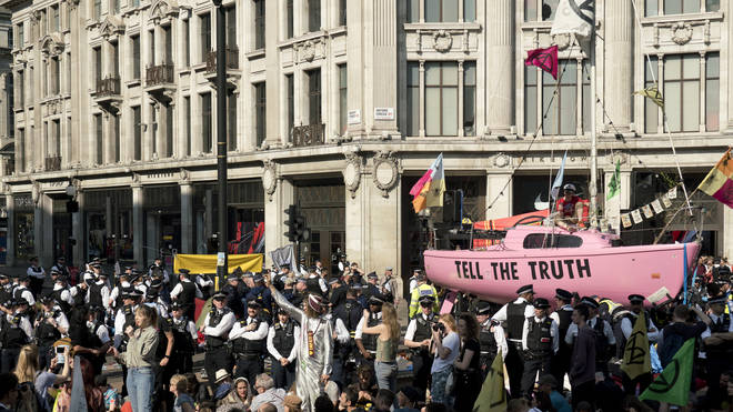 Extinction Rebellion protesters used a pink boat to block Oxford Circus