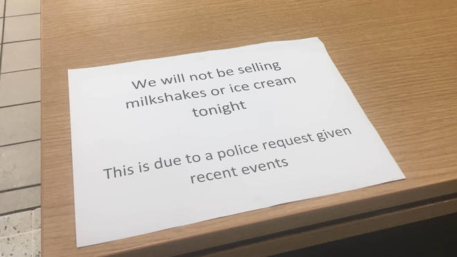 Police told a branch of McDonalds to stop selling ice cream and milkshakes ahead of a Nigel Farage rally