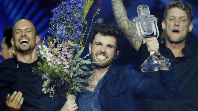 Netherlands' Duncan Laurence celebrates after winning the Eurovision Song Contest