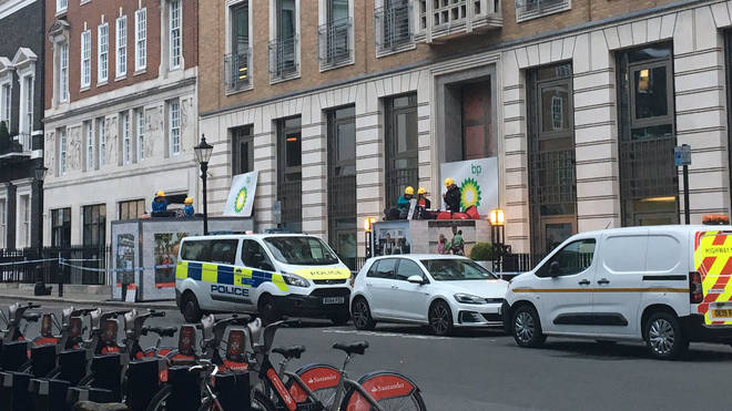 Greenpeace activists have blocked the entrance to BP's headquarters