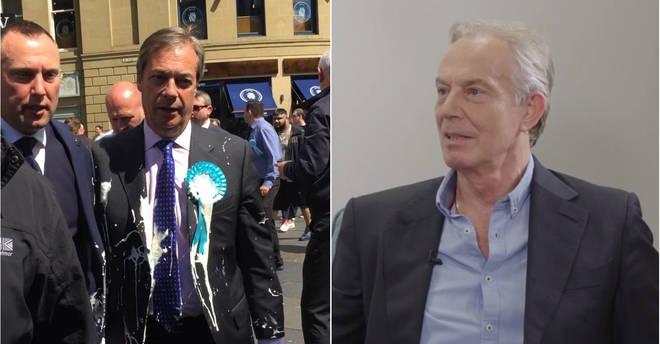 Tony Blair responded to Nigel Farage having milkshake thrown at him