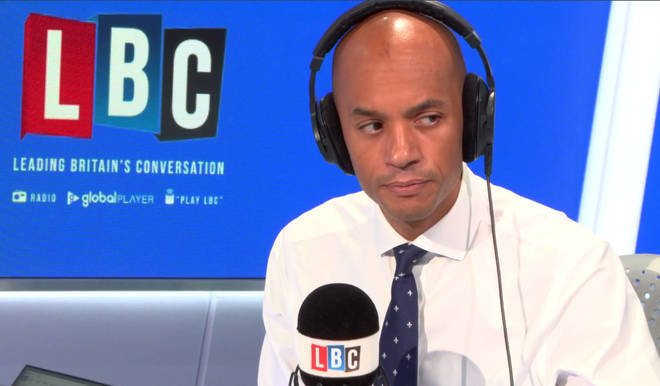 Chuka Umunna listening to caller John on LBC