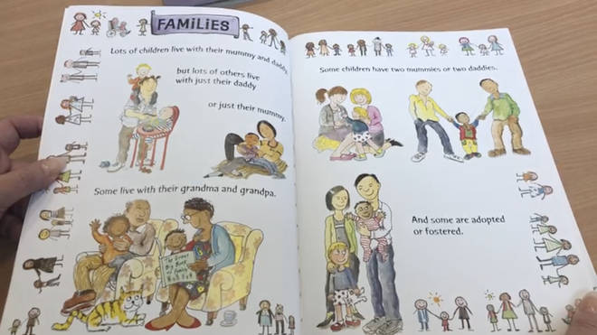 "A page in the book says some families have ""two mummies or two daddies"""