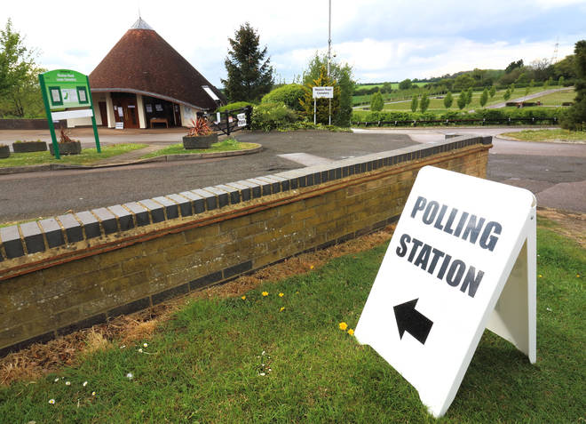 A polling station in Stevenage