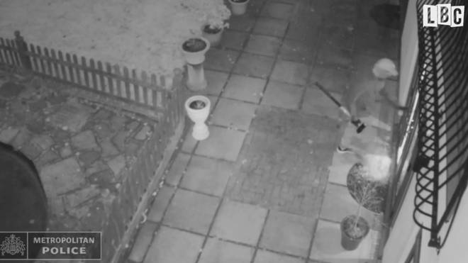 CCTV shows the men smashing into the rear of the property