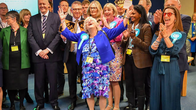 Ann Widdecombe celebrates her election as an MEP