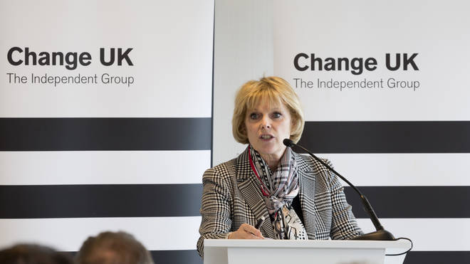 Anna Soubry speaking at a Change UK event before the election