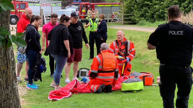 Paramedics deal with the emergency at Lightwater Park in North Yorkshire