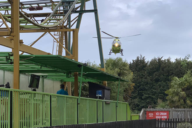 The Air Ambulance arrives at Lightwater Valley