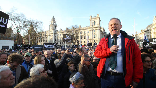 John Mann speaks at a protest against anti-Semitism in the Labour party in Parliament Square.