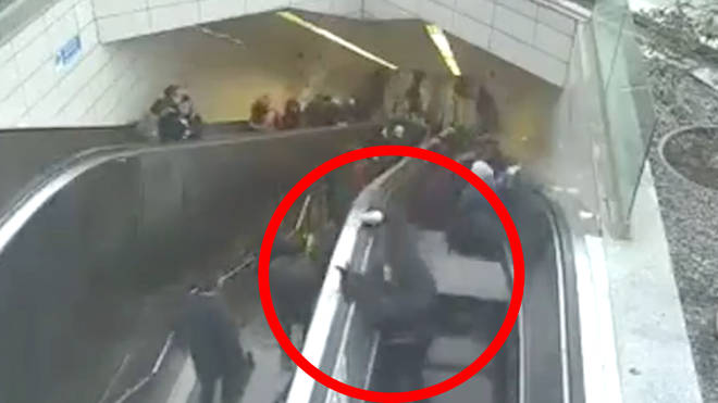 Man falls through escalator, but somehow survives with minor injuries