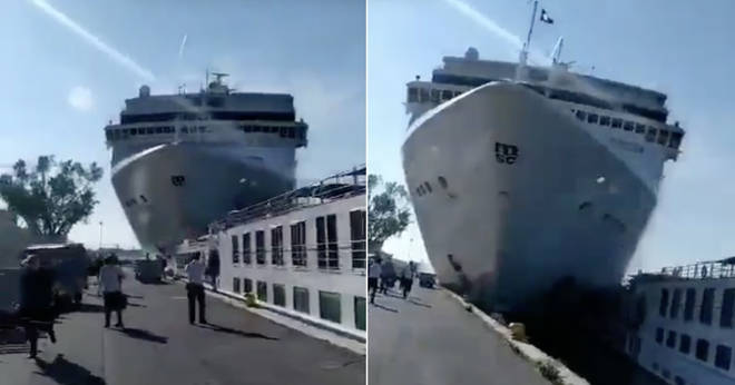 The moment a cruise ship crashes into a dock in Venice
