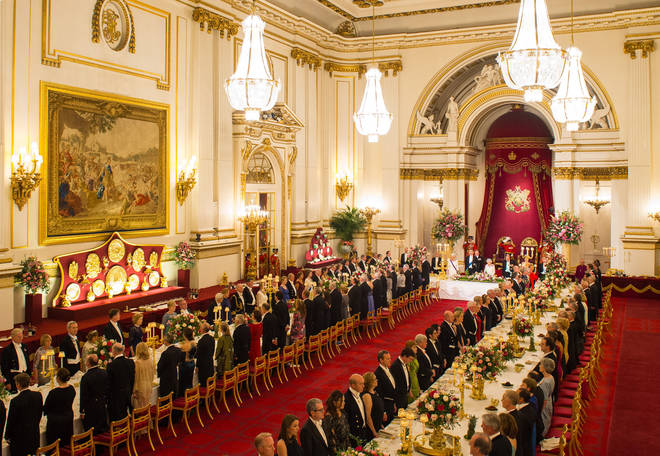 A state banquet at Buckingham Palace