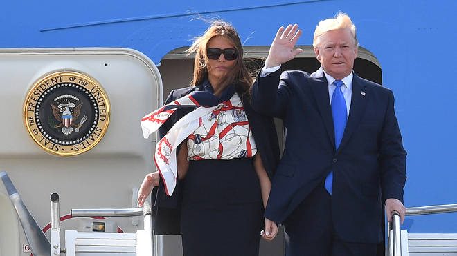 U.S. President Trump arrives in the UK for his state visit