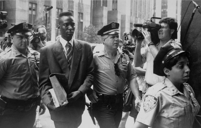 Yusef Salaam escorted into the State Supreme Courthouse in Manhattan in 1990