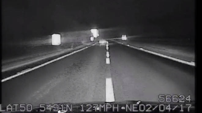 Dashcam footage shows the police pursuit reaching speeds of 127mph.