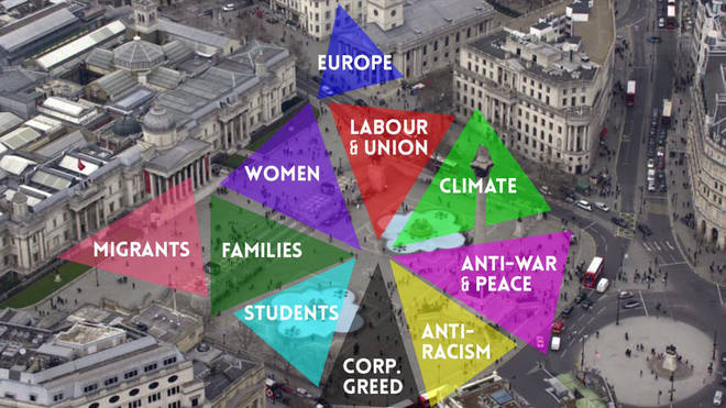 How the protest will be split in Trafalgar Square
