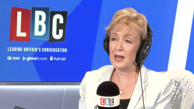Conservative leadership candidate Andrea Leadsom in the LBC studio
