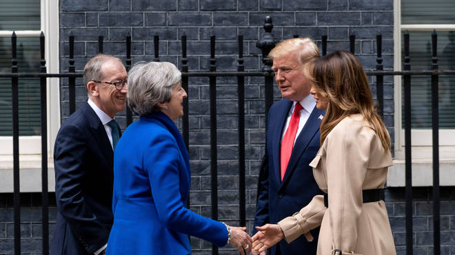 President Donald Trump met with Prime Minister Theresa May at 10 Downing Street