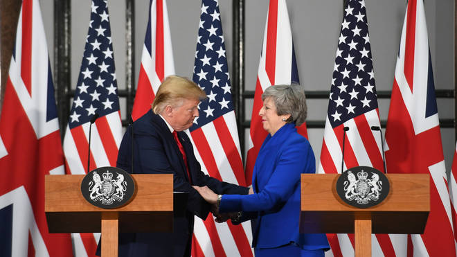 The President spoke at a joint US-UK press conference.