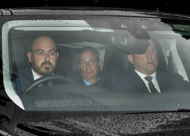 Brexit Party leader Nigel Farage (centre) arrives at Winfield House, the residence of the Ambassador of the United States of America to the UK