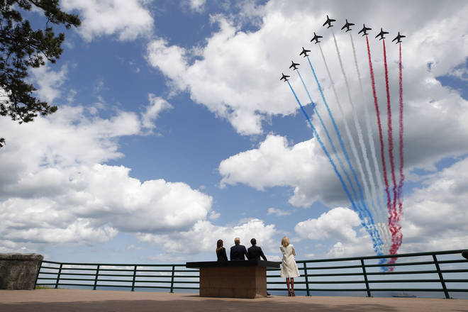 The Red Arrows flypast at the Memorial Service