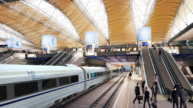 The proposed look to HS2 in Euston Station, London.
