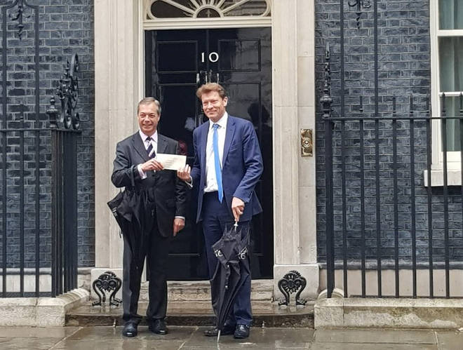 The Brexit Party leader outside No.10 Downing Street