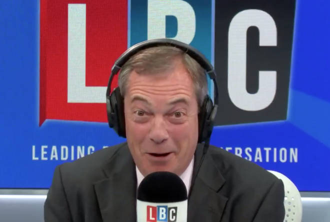 Nigel Farage can't help but laugh.