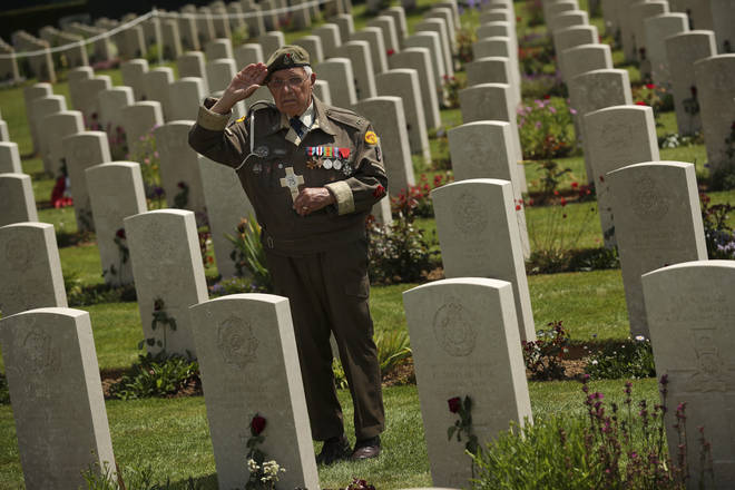 A veteran at the service in Normandy