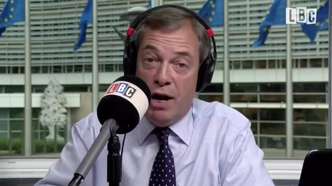 Nigel Farage was answering listeners calls on LBC.