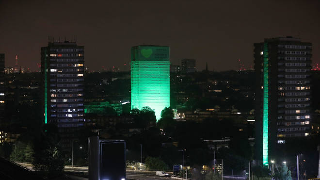 Grenfell Tower lit green on the first anniversary