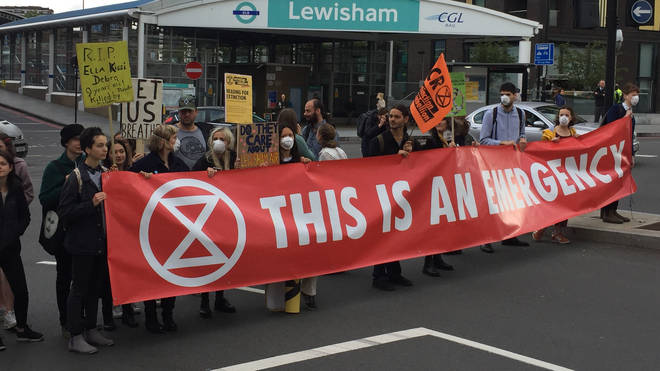 Extinction Rebellion protesters outside Lewisham station