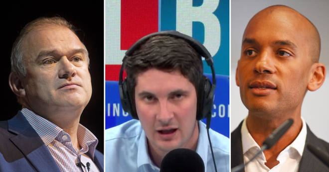 Tom Swarbrick in the LBC studio and Lib Dem MPs Ed Davey and Chuka Umunna