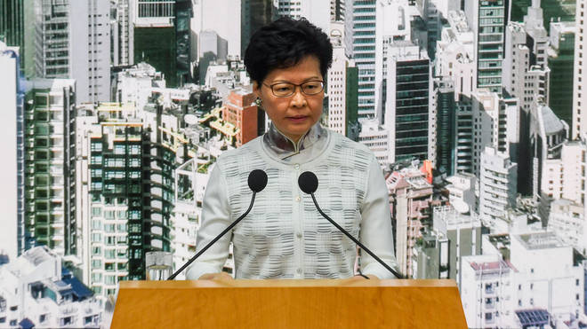 Hong Kong Chief Executive Carrie Lam says the government will suspend debate on its proposed extradition law