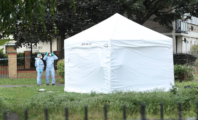 A forensic tent at the scene in Tower Hamlets, East London after a man suffered stab injuries this afternoon and was pronounced dead at the scene.