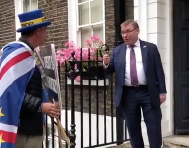 The Tory MP Mark Francois was addressing Steve Bray an anti-Brexit activist