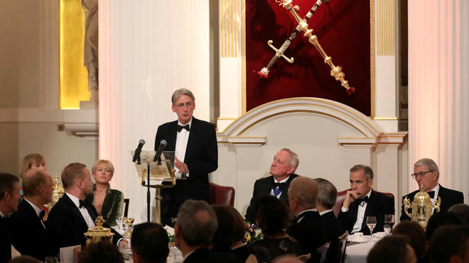 Chancellor Philip Hammond delivers a speech at Mansion House