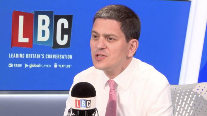 David Miliband in the LBC studio