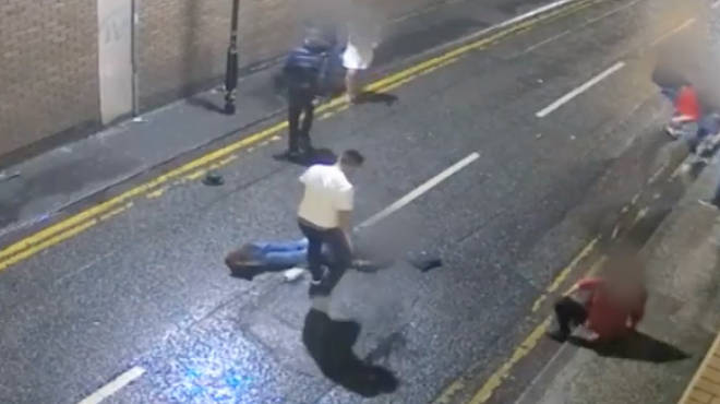 One man even kicks a reveller while he appears to be face down on the floor.
