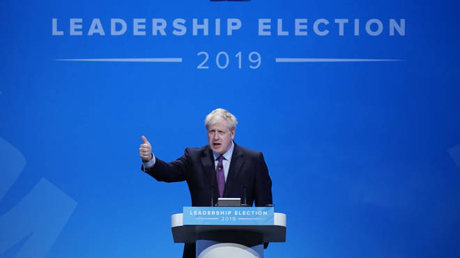 Boris Johnson speaking at the first of 16 Conservative Party hustings events