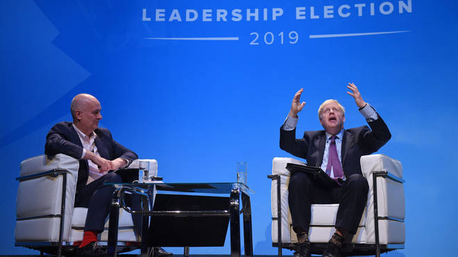 Iain Dale and Boris Johnson at the first Conservative Party leadership hustings