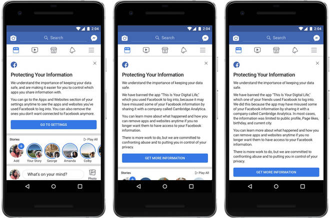 "Three versions of the notification Facebook is sending to people based on whether they've been affected by the app ""This Is Your Digital Life"""