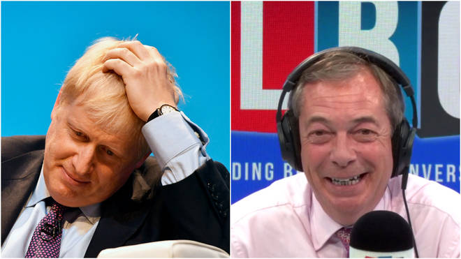 Nigel Farage was discussing Mr Johnson's refusal to attend a TV debate.