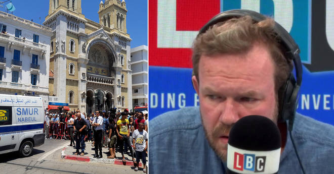 James O'Brien's shocked reaction as his reporter dives for cover