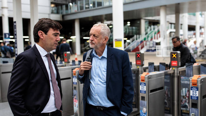 Labour leader Jeremy Corbyn with Mayor Andy Burnham